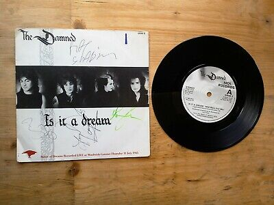 "The Damned Is It A Dream SIGNED BY BAND 7"" Single EX Vinyl Record GRIM 3"