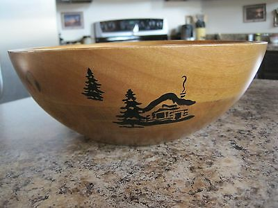 """Cabin & Trees Wooden Bowl 11"""" Woodland Rustic Lodge Decor"""