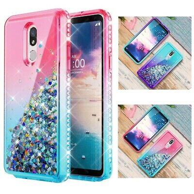 For LG Stylo 4 / 5 Plus Bling Hybrid Liquid Glitter Rubber Protector Case Cover