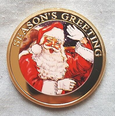 Merry Christmas Gold Coin Father Sleigh Winter Ideal Unusual Unique Xmas Gift