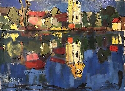 1950's ITALIAN MODERNIST SIGNED OIL ON CANVAS - COLOURFUL HOUSES BY RIVER VIEW