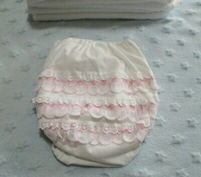 Vintage Frilly Bottom Plastic Baby Pants Pink Teardrop Frills