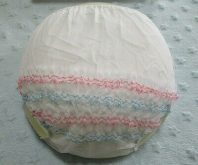 Vintage Frilly Bottom Plastic Baby Pants Pink & Blue Frilly Knickers