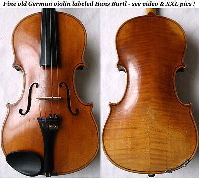 OLD GERMAN VIOLIN Hans Bartl - see VIDEO - ANTIQUE バイオリン rare master скрипка 356