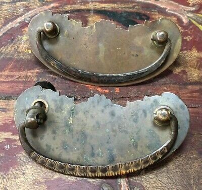 Pair of Beautiful Antique Brass DRAWER PULLS Vintage Architectural Items