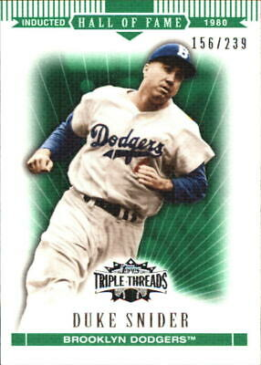 2007 Topps Triple Threads Emerald Brooklyn Dodgers Baseball Card #99 Duke Snider