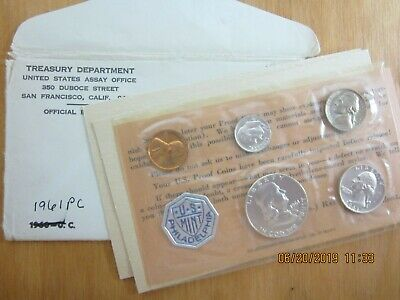 US 1961 Silver Proof Set In Original Envelope with COA's!