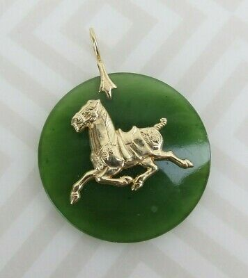 Large Nephrite Green Jade Pendant 14k Y Gold Chinese Tang Horse lucky winner