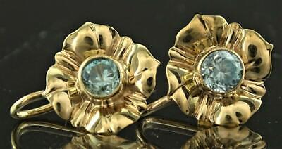 Beautiful Pair 14K Solid Gold & Blue Topaz Floral Screw Back Earrings No Reserve