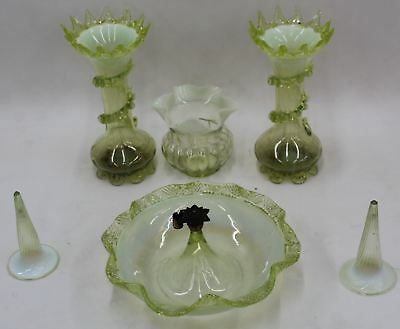 Victorian Antique Vaseline Six Piece Set Art Glass Epergne Centrepiece & Vases