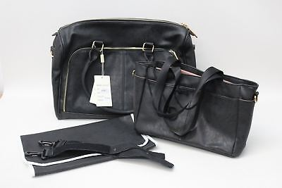 0ee2d2c8a73b4 BNWT MISS LULU 3-Piece Black Faux Leather Wipe Clean Maternity Baby  Changing Bag