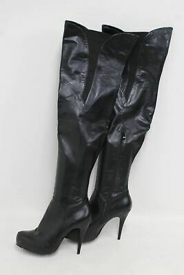 TOPSHOP Ladies Black Faux Leather Thigh High Stiletto Heeled Boots UK7 EU40