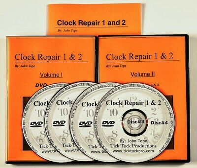 Clock Repair 4 DVDs video course + manual for a beginner. Learn to repair. NEW!