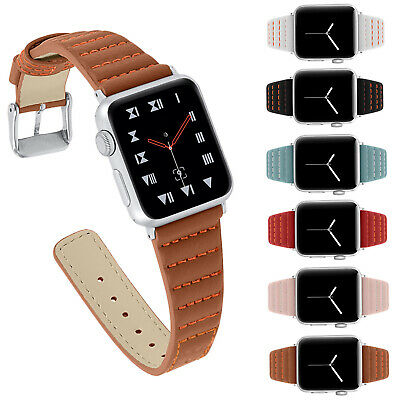 44/40/42/38 Striped Stitching Band For Apple Watch Series 5 4 3 2 Leather Strap