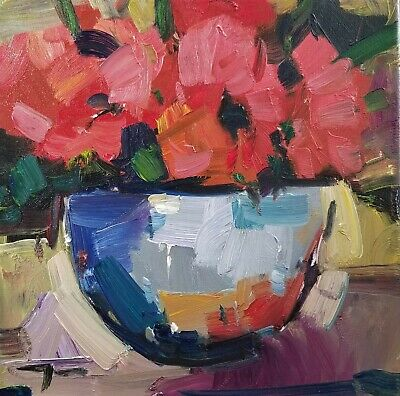 JOSE TRUJILLO Oil Painting Impressionism Red Poppies In A Bowl Still Life Artist
