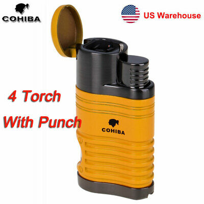 COHIBA Cigar Lighter 4 Torch Metal Gas Cigarette Butane Jet Lighter with Punch