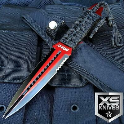 """8.5"""" MTech Stainless Steel Tactical Fixed Red Double Edge Dual Blade Dagger"""