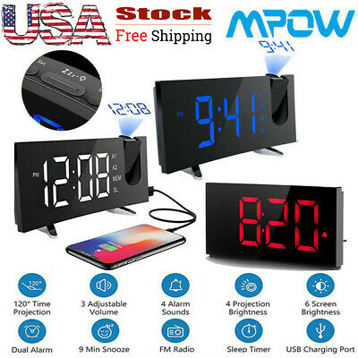 """Projection Alarm Clock 5"""" Curved-Screen FM Radio 2 Alarms Snooze Timer Function"""