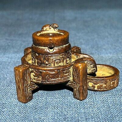 Chinese Old Antique Pure Solid Copper Stone Mill & Mouse Handwork Incense Holder