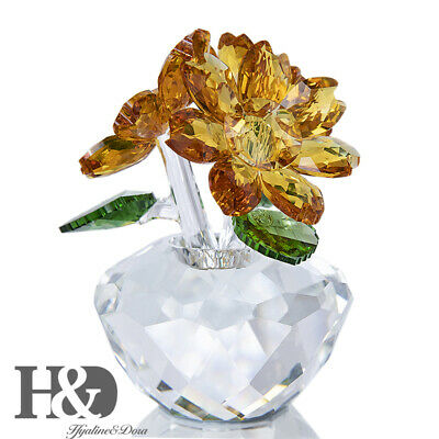 Crystal Sun Flower Figurines Cut Glass Ornaments Paperweight Gifts Wedding Decor