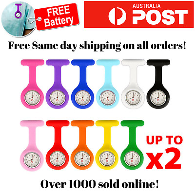 Silicone Nurse Brooch Tunic Fob Watch Nursing Metal Pendant Pocket Watch x 1