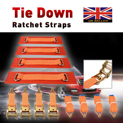 5 Ton Professional Recovery Alloy Ratchet Tie Down Wheel Straps 4 Sets Kit