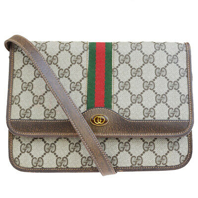 26d895efb Authentic GUCCI GG Pattern Sherry Shoulder Bag PVC Leather Brown Italy  30EP774