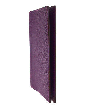 Authentic HERMES Logos Agenda Day Planner Notebook Cover Leather Purple 02SA006