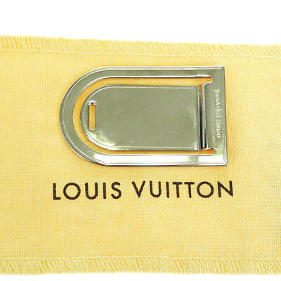 Authentic LOUIS VUITTON Porto Address Money Clip Silver Accessory M64691 67BF014