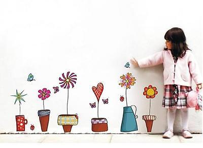 Removable Wall Flower Butterfly Stickers Wardrobe Bedroom Home Art Decals DS