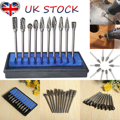 "UK 10Pcs Tungsten Steel Rotary Grinding Burr Drill Bits 1/8""Shank Wood File Set"
