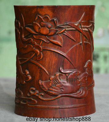 "6"" Old Chinese Redwood Carved lotus Flower Mandarin duck Brush Pot Pencil Vase"