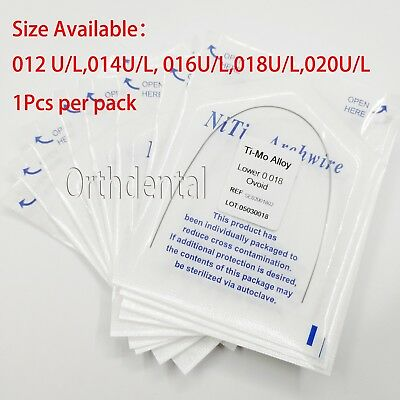 Dental Orthodontic TMA Beta Ti-Mo Alloy Round Arch Wires 10 Size Choose10 Pack