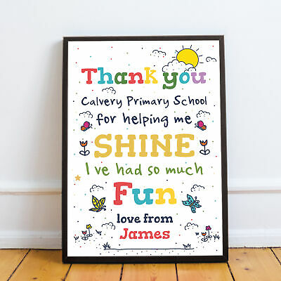 Personalised Leaving School Print Thank You Gift For Teacher Nursery Pre School