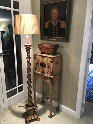 Antique Vintage Hand Painted Italian Gilt Wood Florentine Standard Lamp