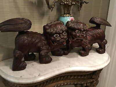 Pair Of Antique Carved Wood Painted Chinese Foo Dogs,temple Lions