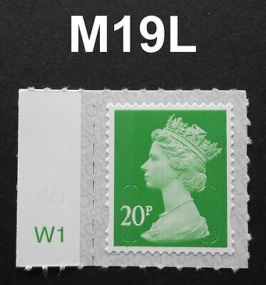 2019 20p M19L Machin SINGLE WITH CYLINDER TAB from Counter Sheet