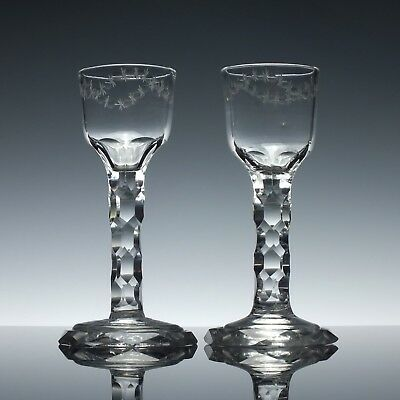 Pair Antique 18th Century Georgian Facet Wine Glasses with Octagonal Feet c1795