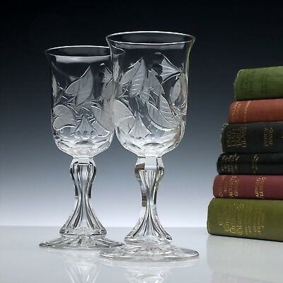 Pair Antique 19th Century Victorian Engraved Richardson Glass Wine Goblets c1880