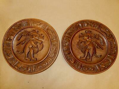 Pair of Antique Carved Wooden Plaques w/ Lions-Fish-Hands etc.-Very Heavy 13 in.