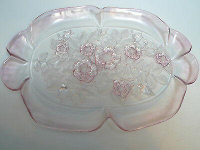 "1980s Mikasa Walther Glass 16"" Serving Tray Rosella Rose Pink Dish  Canope Tray"