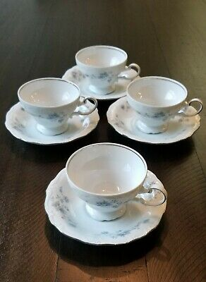 Johann Haviland Blue Garland Footed Tea Cup And Saucer Set Of 4