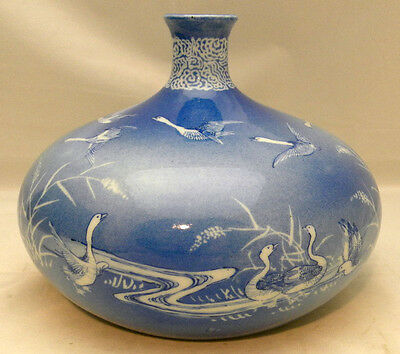 Japanese Meiji blue & white Porcelain Vase with geese