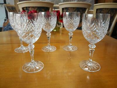 5 Lovely & Rare Galway Crystal Water Glasses - BLARNEY Pattern Goblets 7 3/4""