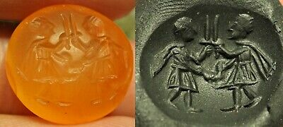 Anceint Carnelian Intaglio NEAT DETAIL Roman Greek Kings Battle Signet Seal Bead