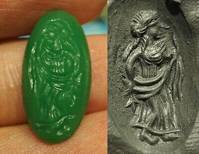 Ancient Green Jade Gred Goddess Intaglio Seal Signet Stamp Amazing Carved bead