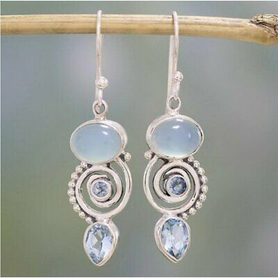Women Retro 925 Silver White Fire Opal Gemstone Drop Dangle Hook Earring Jewelry
