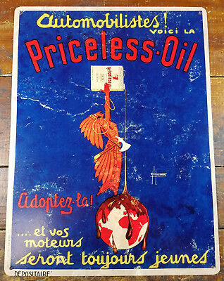 Priceless Motor Oil Red Indian Pours Oil Over Earth French Heavy Duty Metal Sign