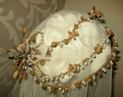 Antique French Waxed Blossom Wedding Couronne & Corsage