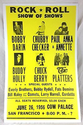 1956 Cow Palace San Francisco Rock & Roll Concert Poster Chuck Berry Buddy Holly